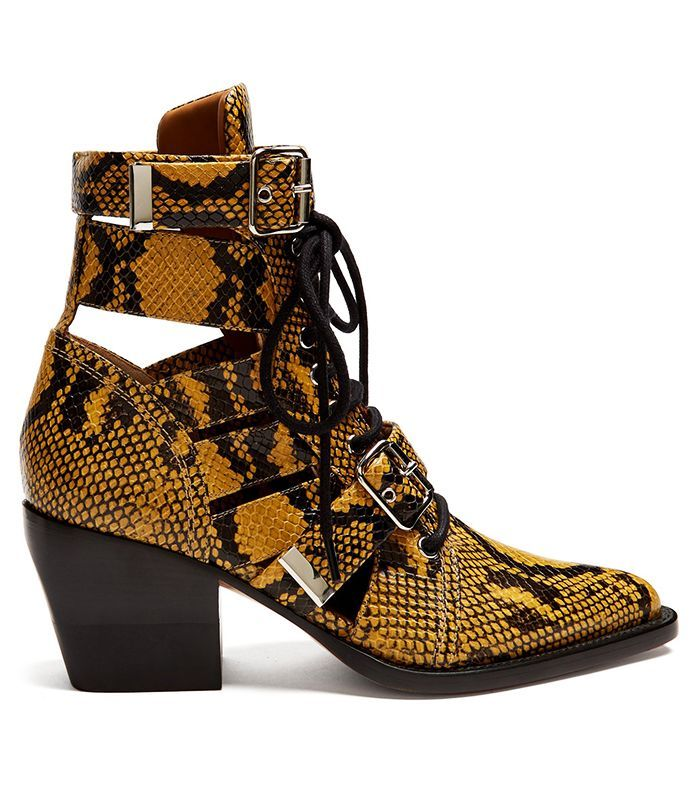 Chloé Rylee Snake-Effect Ankle Boots