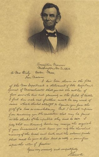 Lincoln's letter to a mother of five young men who lost their lives in the Civil War.