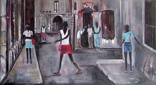 Urban Life > Cuba  Oil painting on canvas