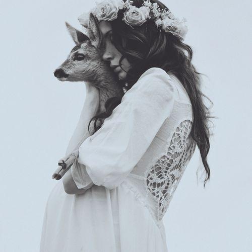 Portrait - Bohemian Fashion - Deer - Wildlife - Black and White - BOHO - Hippie - Photography