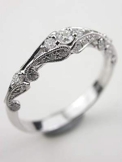 antique styled engagment ring in love.