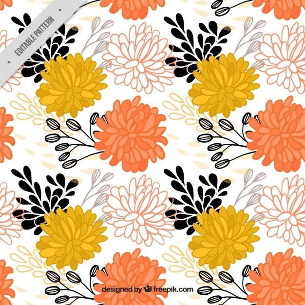Patrón de flores ornamentales dibujadas a mano Vector Gratis