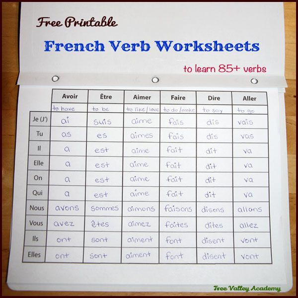 17 Pages Of Free Printable French Verb Worksheets To Learn