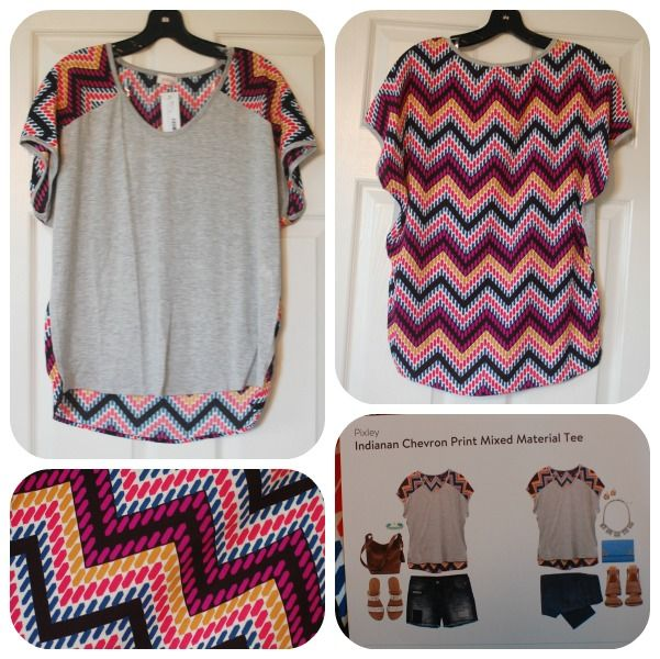 Pixley indianan chevron print mixed material tee love for Anything of waste material