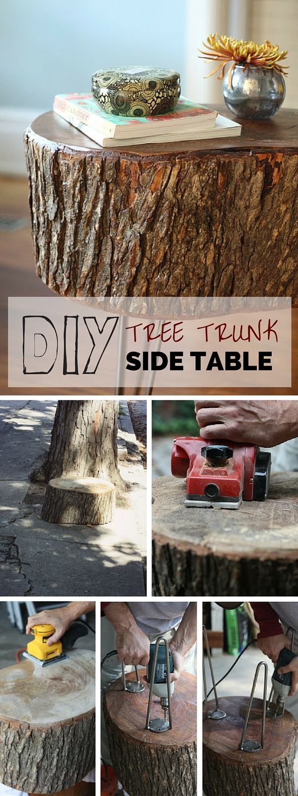 Check out the tutorial: #DIY Tree Trunk Side Table #crafts #rustic #homedecor