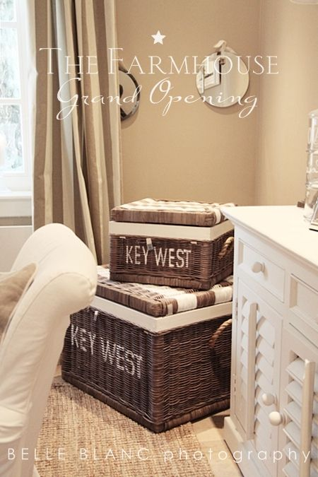 Stenciled baskets with striped lids...would be a fun DIY to try