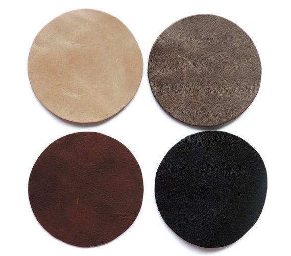 Set of 4 leather coasters assorted natural colors natural