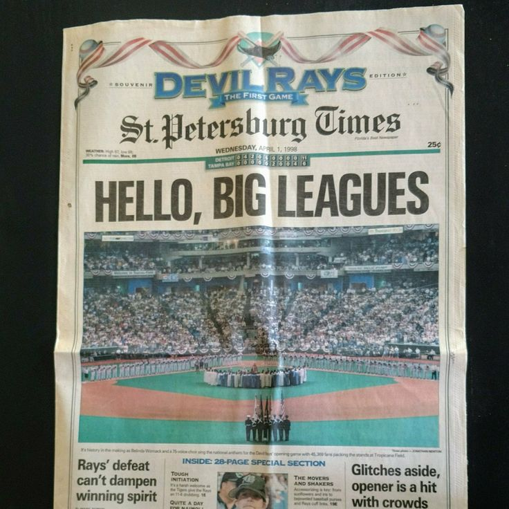 Vintage Florida baseball! Great set of papers for all Tampa Bay Ray's fans. Visit us on Facebook to see our whole collection of vintage newspapers @rockandrhinocollectibles Headlines include Reagan's Inauguration, Reagan is Shot, Challenger Explosion etc.