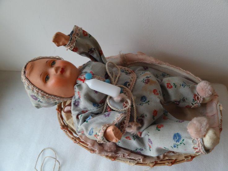 кукла пупс в коляске-корзине размер 20 см. Германия (торги ...