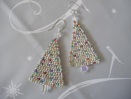 Christmas Tree Seed Bead Earrings by WorkofHeart on Etsy                                                                                                                                                      More