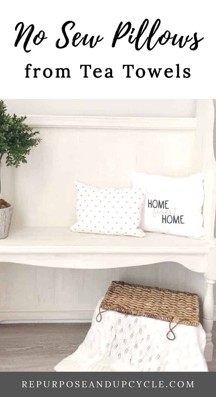 DIY No Sew Pillows with Tea Towels from