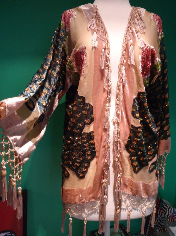 Peacocks in silk velvet and handbeading, short jacket. SOLD