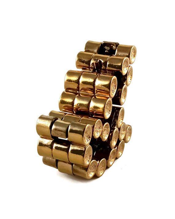 Vintage PACO RABANNE tubulaire Cuff Bracelet articulé