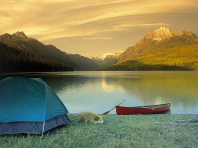 Camping at the lake.