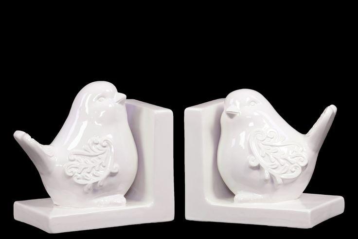 Elegant Ceramic Bird Bookend Gloss