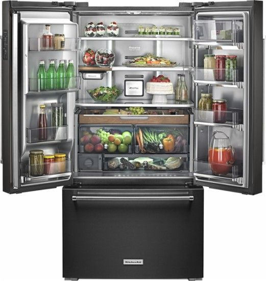KitchenAid - 23.8 Cu. Ft. French Door Counter-Depth Refrigerator - Black - AlternateView2 Zoom