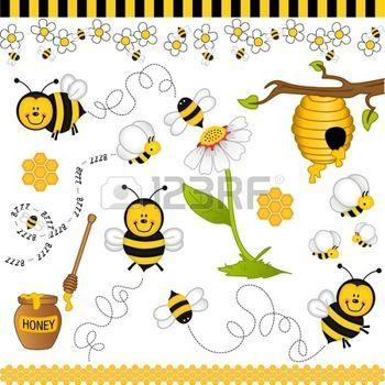 scrapbooking: Bee digitální koláž Ilustrace