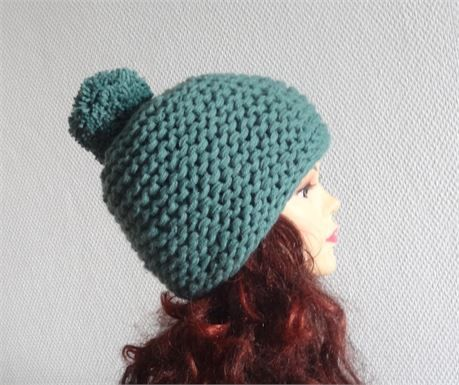 knit hat with pompom UnisexAccessories Winter Hat with pompom Style and elegance. full handwork made on wires, from soft yarn  Cleaning: handwash in cool water and lay flat to dry.  It was made in a smoke free environment.  Available in sizes:  S - 19.5 - 21.3 inches (50 - 54 cm) M - 20.5 - 22.4 inches (53 - 57 cm L - 21.5 - 23.2 inches (55 - 59 cm) XL - 22.8 - 24.5 inches (58 - 63 cm)  You can also specify the circumference of the head. Then the cap is the best fit :-)) color : greenish