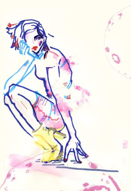 """need more space"" - space series illustration - karolina niedzielska ""fashion łyk"""