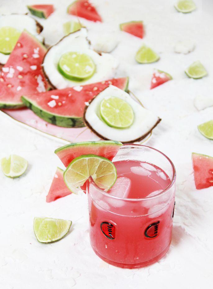 Coconut Watermelon Rum Cocktail Recipe- watermelon glass #anthrofave