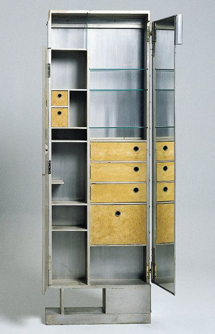 A wood and aluminium dresser designed by Eileen GRAY for E 1027 - Centre Pompidou (hva)