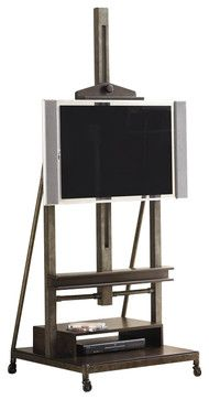 Hammary Structure TV Easel/Stand in Distressed Brown transitional-media-storage