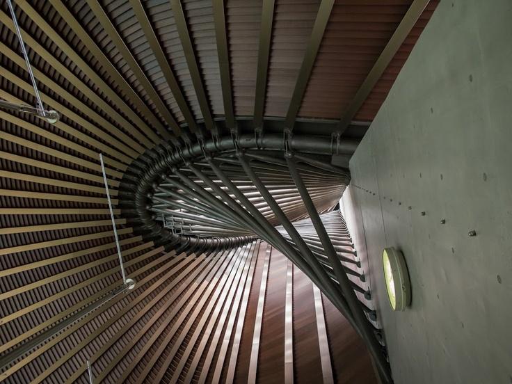 国立代々木競技場/丹下健三。第二体育館の屋根。主柱とメインケーブル。