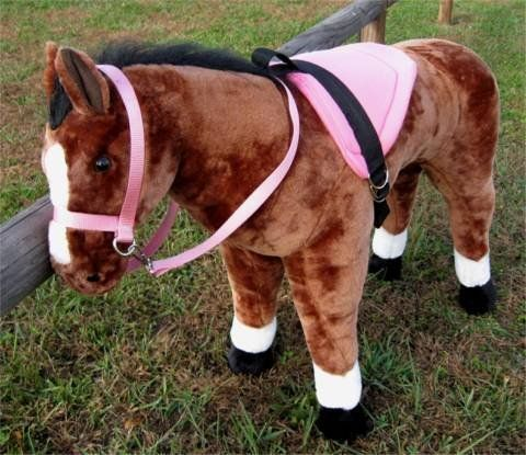 """SADDLE SET FOR MELISSA AND DOUG GIANT STANDING HORSE by Party Ponies. $29.99. Pink!. Pretty Pink Saddle!. Sized to fit the Melissa and Doug Delux Giant Standing Horse. Horse not included. Bridle and rein!. HORSE NOT INCLUDED! DRESS UP FOR THE """"MELISSA AND DOUG PLUSH HORSE""""   Sold here by a fabricator of real horse tack, out of a real tack store!  Sized to fit the """"Melissa and Doug Delux Giant Standing Horse""""  Pretty Pink bright padded saddle, with black nylon rigging. Nylon cinch..."""