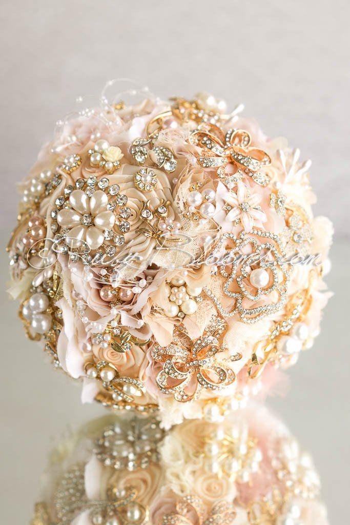 Rose Gold Wedding Brooch Bouquet The Innocent