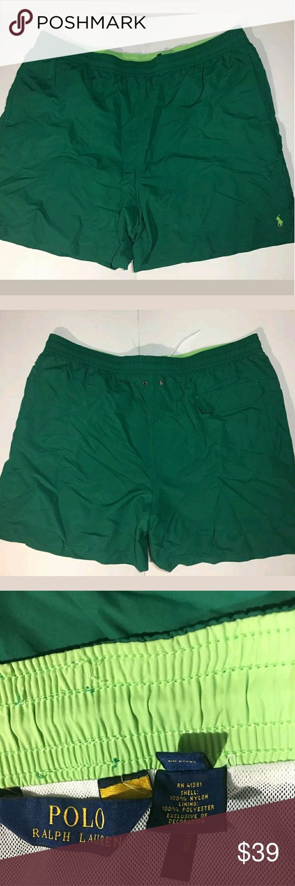 Ralph Lauren Polo Swim Shorts Drawstring Waist Ralph Lauren Polo Swim Shorts Drawstring Waist Green 3XBig.   Excellent used condition. Pockets   42 waist plus stretch.  6 inch inseam.  20.5 inch outseam.   AB Polo by Ralph Lauren Shorts