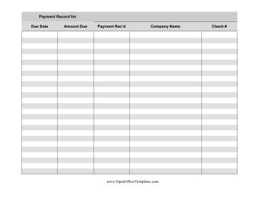 Track payments, amount due, and account information with this printable gray payment log. Free to download and print