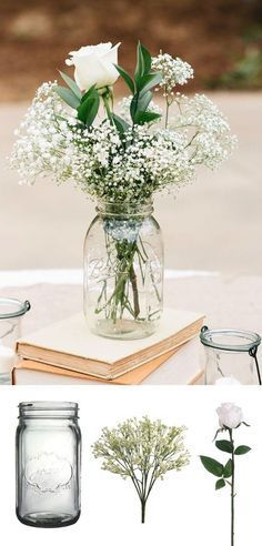 simple diy vintage rustic wedding centerpice ideas with mason jars baby's breath…