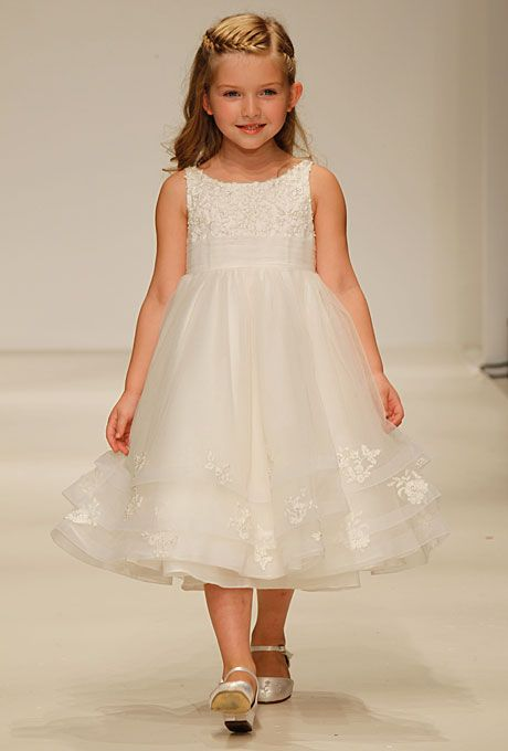 """Brides.com: . Style 704, """"Cinderella"""" sleeveless tea-length lace and tulle A-line flower girl dress with a scoop neckline and lace details at the trim, by Disney Fairy Tale Weddings by Alfred Angelo"""