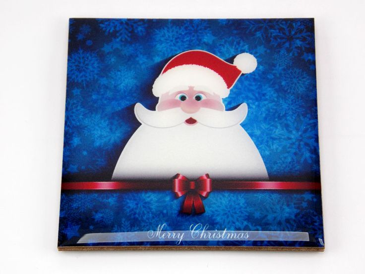 Merry Christmas Santa Claus Blue Color Drink Coaster Unique Gift Wood by Osarix