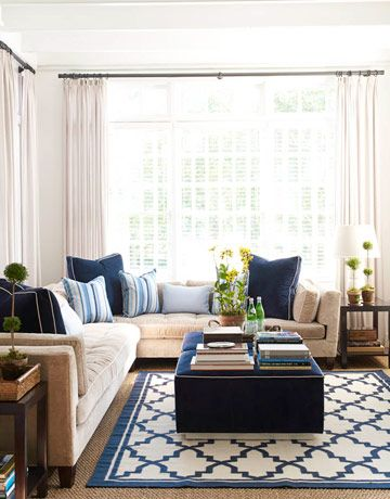 An L-shaped sofa wraps a corner in the same room and is upholstered in Rogers & Goffigon's Cervo linen velvet in Moth. Pasajes Blu rug by Oscar de la Renta for Elson & Company. José Picayo  - HouseBeautiful.com