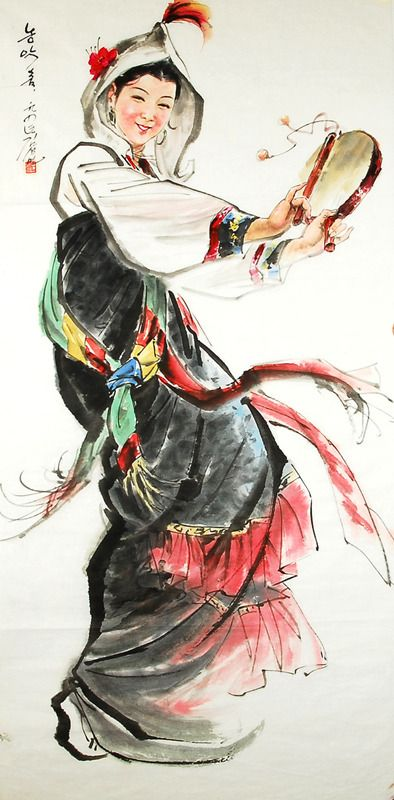 (North Korea) Farm music Dance by Kim Seong-min (1949- ). Korean traditional dance. Korean brush watercolor on paper. 김성민 농악춤