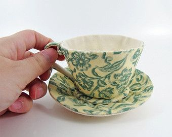 Textile Teacup Tidy-William Morris Fabric-Merton Green Floral on Cream