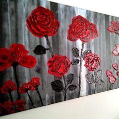 """Tableau moderne """"red flowers"""", acrylique sur toile."""
