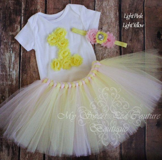 Many Colors- 1st Birthday Tutu Outfit- Personalized Shabby Flower Onesie- Tutu Outfit- 1st Birthday Outfit- Cake Smash- First Birthday on Etsy, $39.00