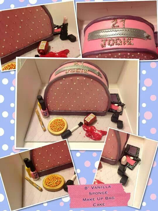 Make-up bag cake with edible make up