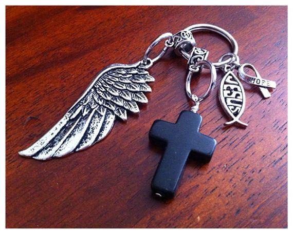 Christian Keychain Cowgirl Keychain Cancer by DorysBoutique