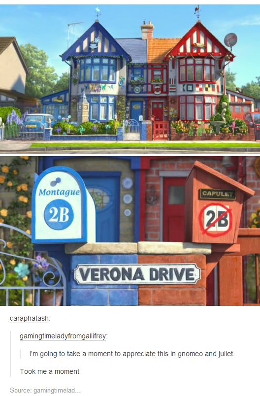 Never saw Gnomeo and Juliet, but love how they put the reference in there :)