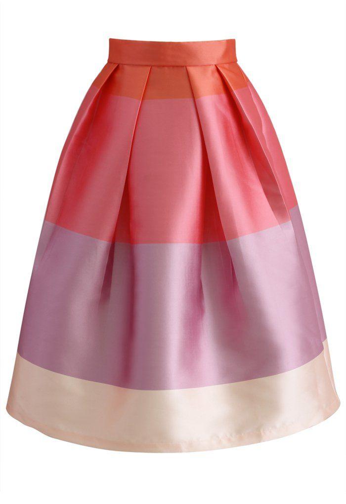 Lolipops Color Block Printed Midi Skirt - Retro, Indie and Unique Fashion