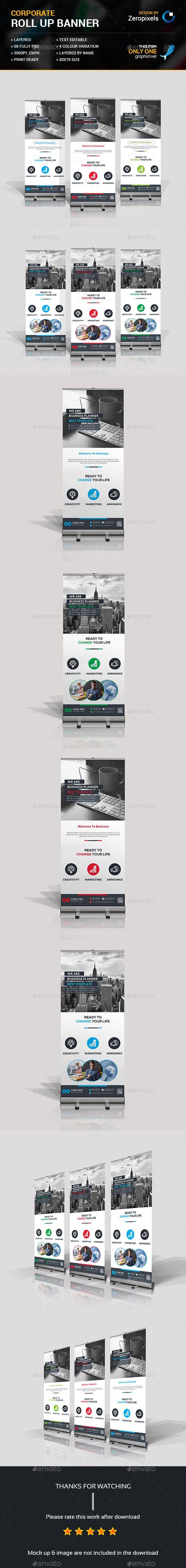Roll Up Banner Design Template Bundle - Signage Print Template PSD. Download her...