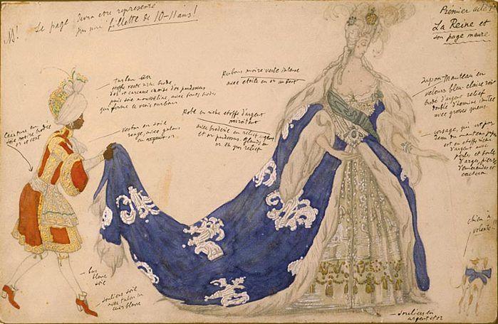 Костюм королевы и пажа для «Спящей красавицы». Лев Бакст 1921год