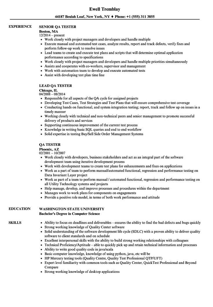 Experienced QA Software Tester Resume Sample Monster Entry