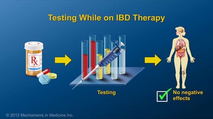 Depending on the therapy used to treat IBD, patients may need to undergo tests to ensure that the medication is not affecting  different parts of the body.slide show: preparing for ibd therapy. this slide show describes ways patients with inflammatory bowel disease ibd can prepare for their therapy and medications.