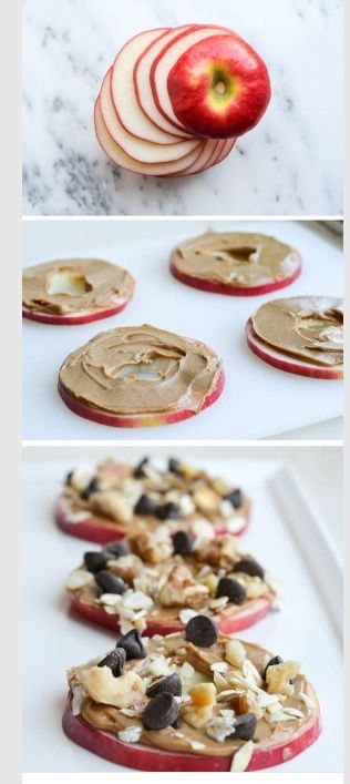 Apple Cookies... These are delicious! All you have to do is cut an apple, smear some peanut butter and honey then add mixed nuts or toppings of your choice!