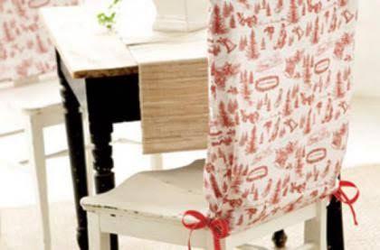 En esta ocasión te vamos a dejar una estupenda idea para coloar en tus sillas. Esto permite no solo protegerlas, sino que también colocarlas y retirarlas cuando más nos guste.Materiales:Tela estampada Cinta a tono Tijeras Maquina de coser Paso a paso:Es muy simple, mide el alto y el ancho del respaldo de la silla,