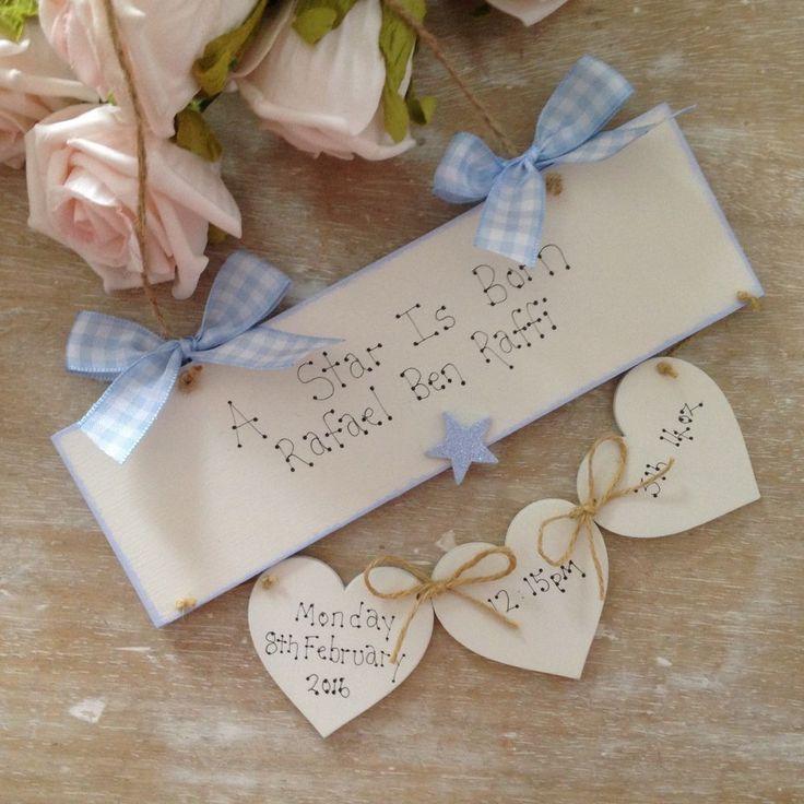 Personalised New Baby  Boy Girl Newborn Baby Christening Day Keepsake Gift Sign